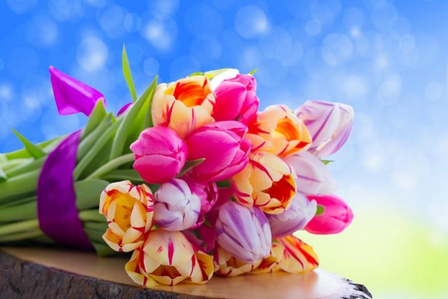 Ramo con tulipanes de bonitos colores