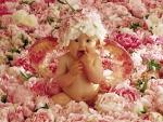 Bebé rodeado de flores