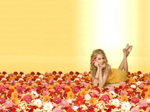 Taylor Swift tumbada entre gerberas