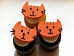 Cupcakes decorados con la cara de un gato