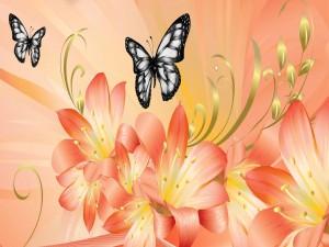 Hermosas mariposas y lirios