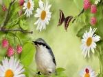 Un pájaro entre frambuesas y margaritas