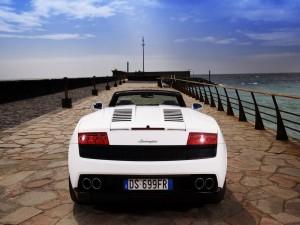 Lamborghini Gallardo blanco en el muelle