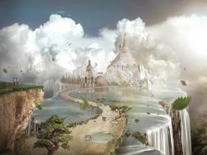 Pareja caminando por una ciudad de fantasía