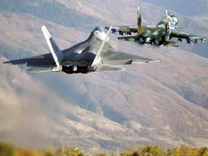 F-22 y un Su-37 en el aire