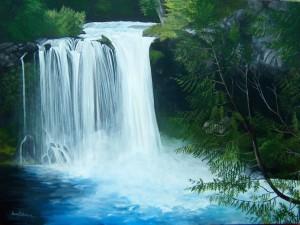 Pintura de una cascada