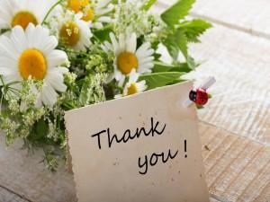 Ramo de margaritas y una carta de agradecimiento