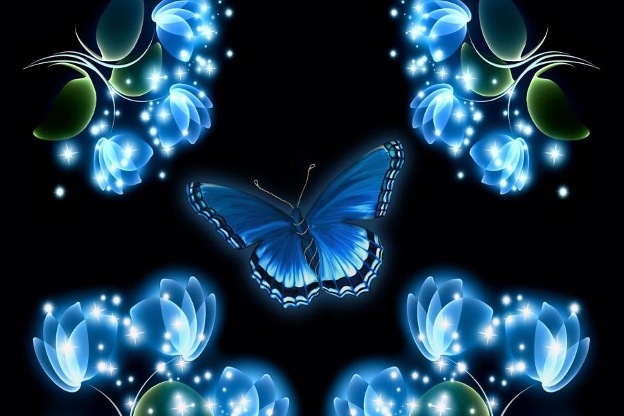 Mariposa y flores brillantes