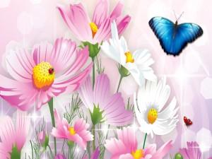 Insectos revoloteando sobre las flores