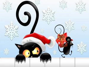 Gato observando a un ratón portando un regalo de Navidad