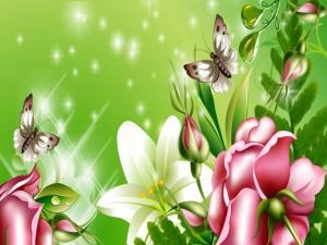 Mariposas y flores primaverales