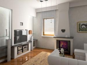 Un moderno salón con chimenea
