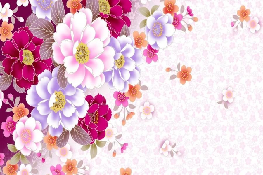 Imagenes Coloridas De Fondo: Fondo Con Unas Coloridas Flores (69671