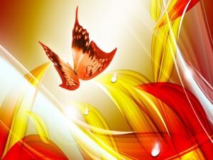 Mariposa volando sobre ondas rojas y amarillas