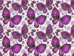 Textura con mariposas y flores color púrpura