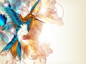 Colibrí con sus alas extendidas