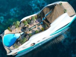 Paradisíaca isla tropical en un yate