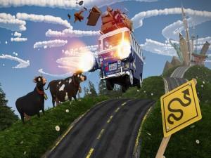 Vacas mirando con sorpresa a un automóvil perdiendo el equipaje