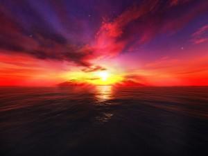 Bonito cielo sobre el mar