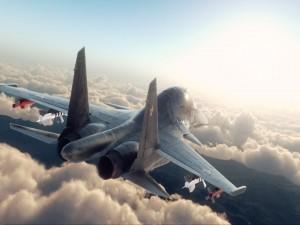 Su-34 volando sobre las nubes