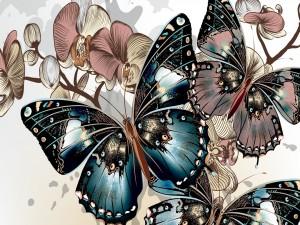Hermosas y bellas mariposas entre flores
