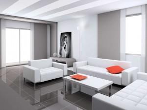 Un moderno salón blanco