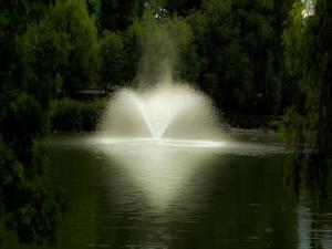 Fuente en medio del lago