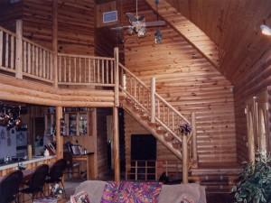 Interior de una cabaña de madera