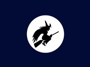 Sombra de una bruja en la luna