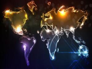 Mapa del mundo en trazos de luz