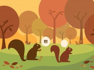 Ardillas caminando por un bosque en otoño