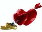 Corazones y anillos unidos con una flecha
