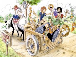 """Personajes de la popular serie de anime """"One Piece"""" montados sobre una carretilla"""