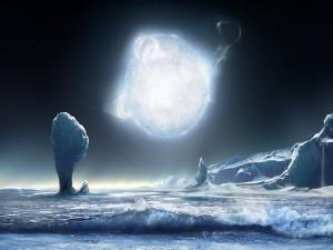 Una luna complemente congelada