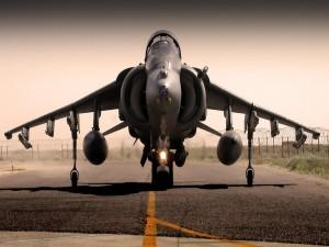 Avión de combate en la pista de vuelo