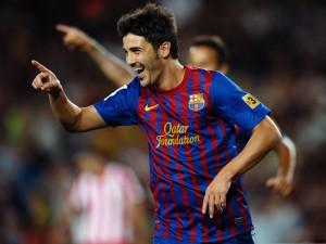 David Villa jugando con el Barcelona