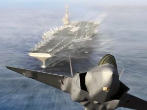 F-22 Raptor despegando de un portaaviones