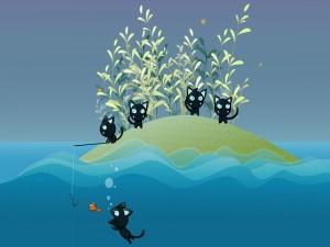 Gatitos pescando