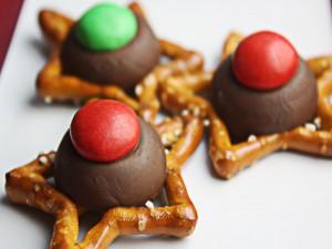 Pretzel en forma de estrella con chocolate