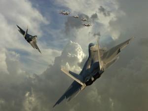 Aviones de combate en el aire