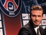 David Beckham en una rueda de prensa con el Paris Saint-Germain