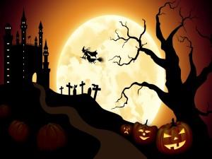 Bruja volando hacia el castillo en la noche de Halloween