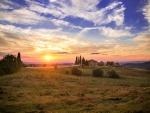 Puesta de sol en la Toscana, Italia