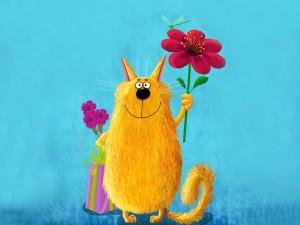 Gato con flores y un regalo