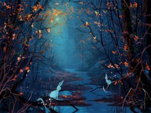 Animales en el bosque en una noche de luna llena