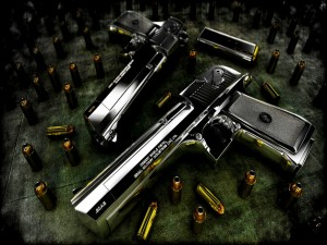 Balas y dos pistolas