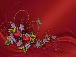 Mariposa, corazones y flores en un fondo rojo