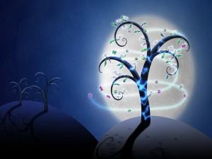 Árboles iluminados por la luna