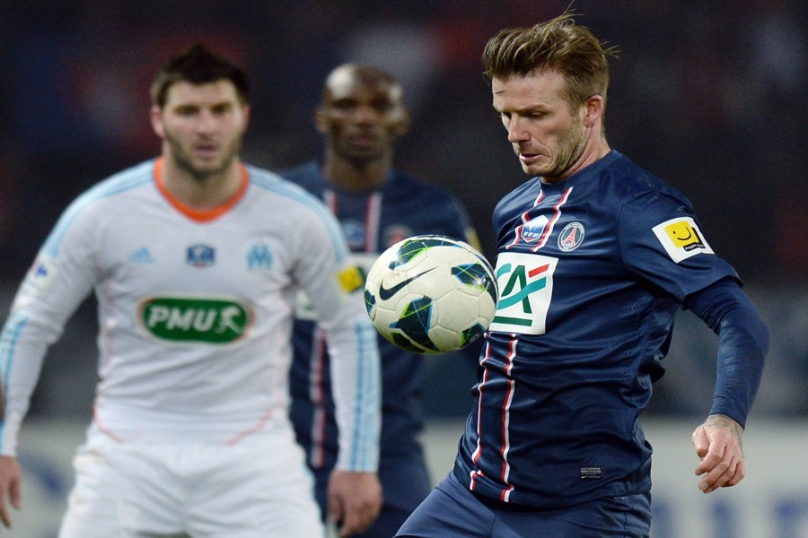 David Beckham en un partido con el Paris Saint-Germain