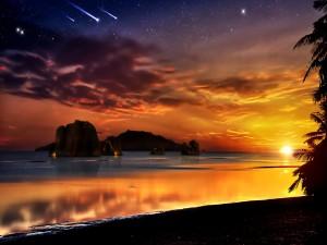 Hermoso cielo al amanecer